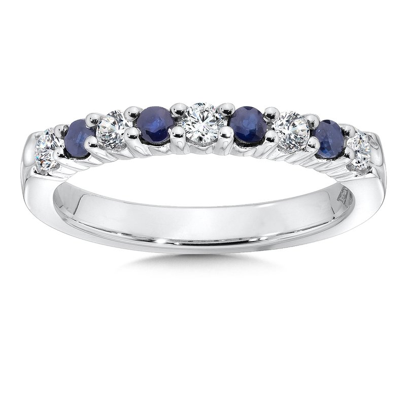 SDC Creations Diamond and Sapphire Stackable Ring in 14k White Gold