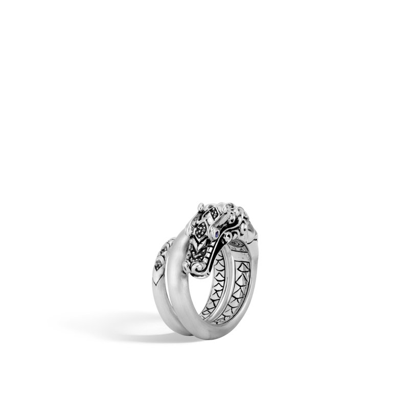 JOHN HARDY Legends Naga Ring in Brushed Silver with Gemstone