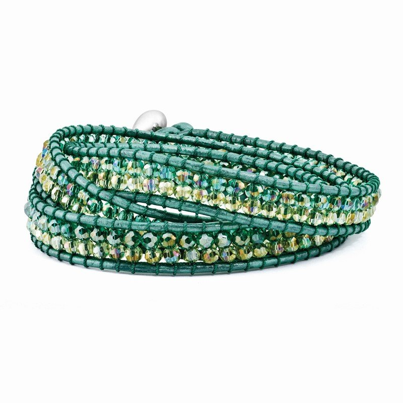 Quality Gold Multi Green Aurora Borealis Crystal Beaded Leather Multi-wrap Bracelet