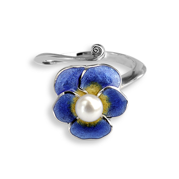 Sterling Silver Ring-Pansy-Blue-Pearl