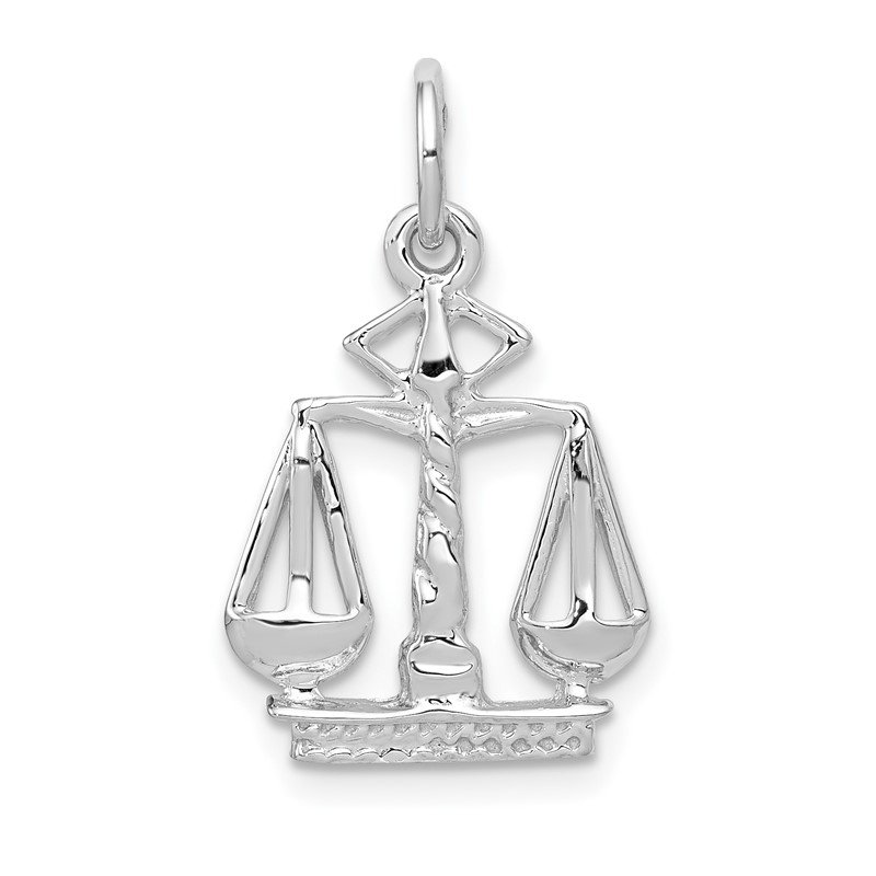 Quality Gold 14k White Gold Flat-Backed Scales of Justice Charm