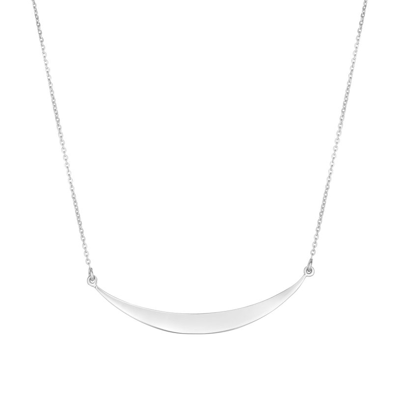 Royal Chain Silver Flat Curved Bar Necklace
