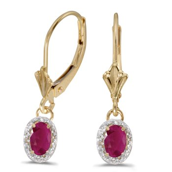 14k Yellow Gold Oval Ruby And Diamond Leverback Earrings