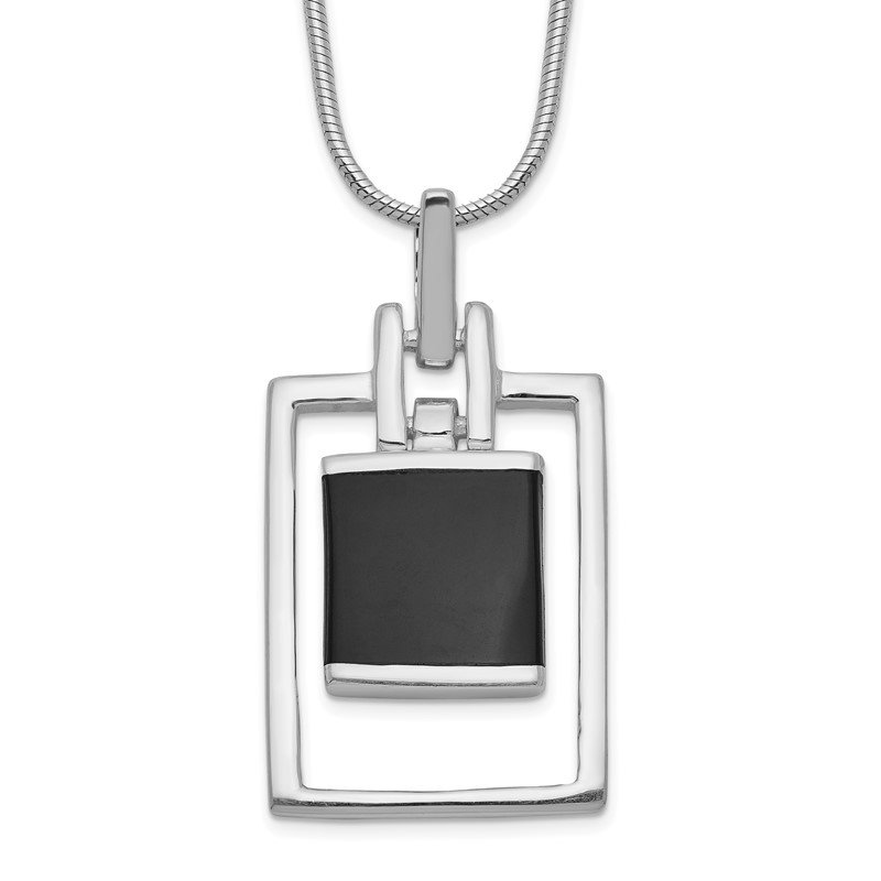 Fine Jewelry by JBD Sterling Silver Square Onyx Pendant Necklace