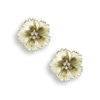 Yellow Sweetness Flower Stud Earrings.Sterling Silver-White Sapphires
