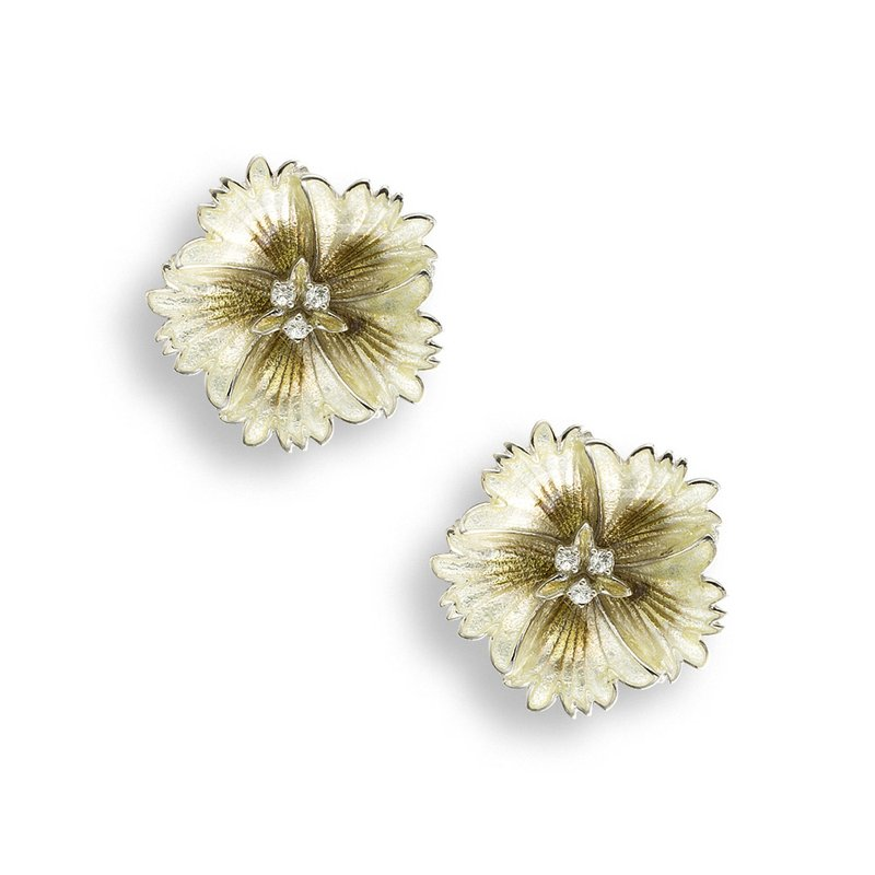 Nicole Barr Designs Yellow Sweetness Flower Stud Earrings.Sterling Silver-White Sapphires