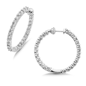 Pave set Diamond Reflection Hoops in 14k White Gold (1 1/2ct. tw.) JK/I1