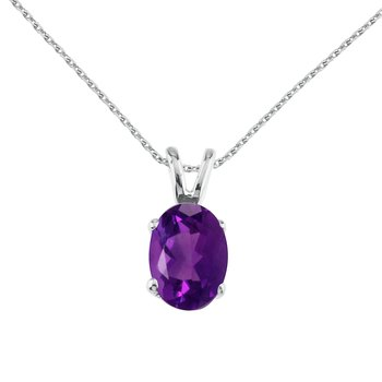 14k White Gold Oval Large 6x8 mm Amethyst Pendant