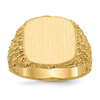 14k 13.5x13.5mm Closed Back Men's Signet Ring