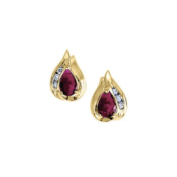 14k Yellow Gold Pear Ruby And Diamond Earrings