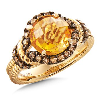 Citrine & Cognac Diamond Ring in 14K Yellow Gold