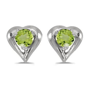 14k White Gold Round Peridot Heart Earrings