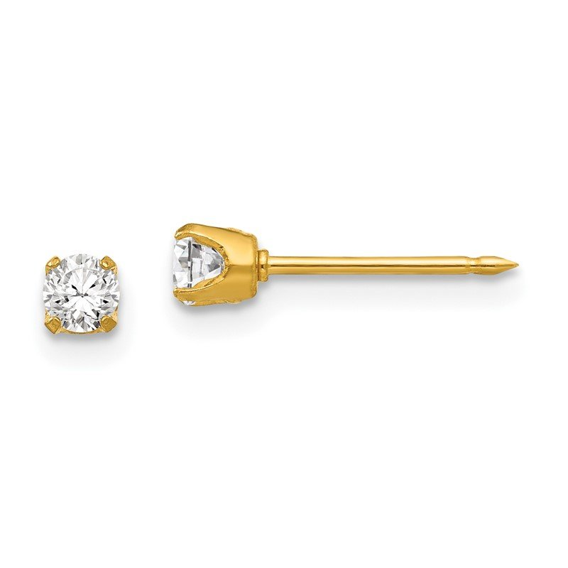 Quality Gold Inverness 24k Plated 3mm CZ Post Earrings