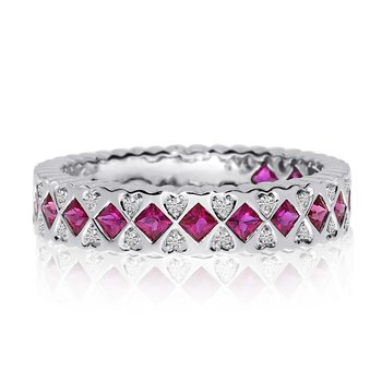14k White Gold Ruby and Diamond Fishtail Band