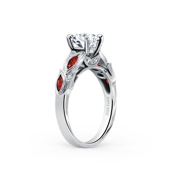 Ruby Floral Diamond Milgrain Engagement Ring