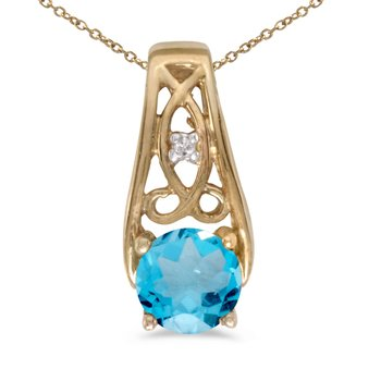 10k Yellow Gold Round Blue Topaz And Diamond Pendant