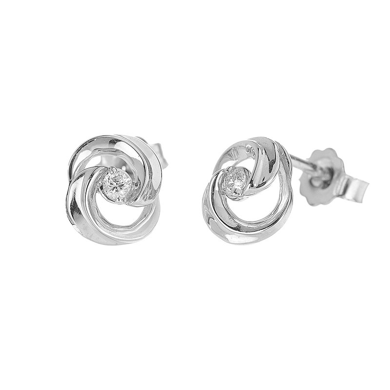 BB Impex 10K WG Diamond Swirl Design Stud Earring