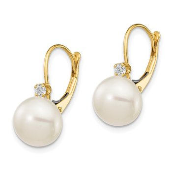 14K 10-11mm White Button FWC Pearl .10ct Diamond Leverback Earrings
