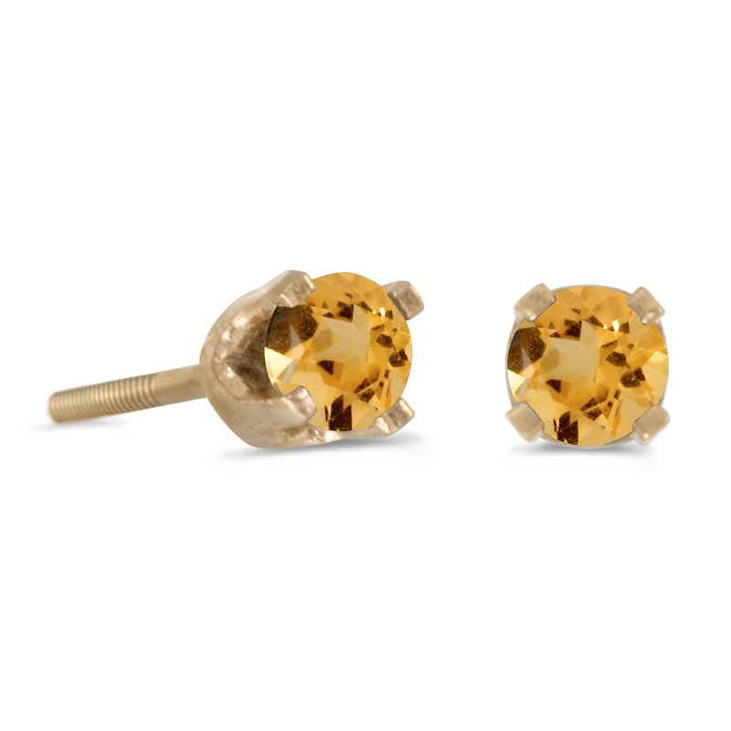 Color Merchants 3 mm Petite Round Citrine Screw-back Stud Earrings in 14k Yellow Gold