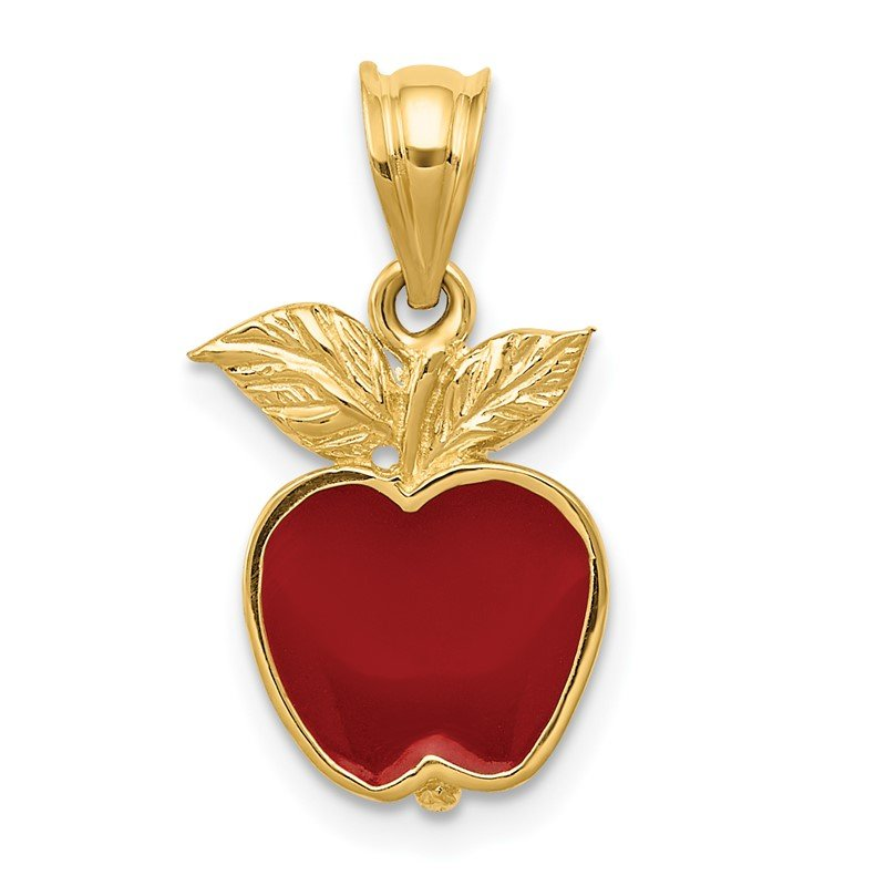 Quality Gold 14k Polished Red Enameled Apple Pendant
