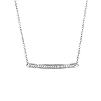 14K Gold .12ct Diamond Bar Necklace