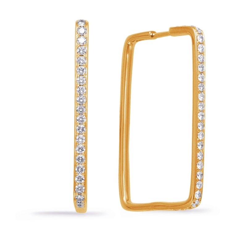 S. Kashi  & Sons Yellow Gold Diamond Hoop Earring