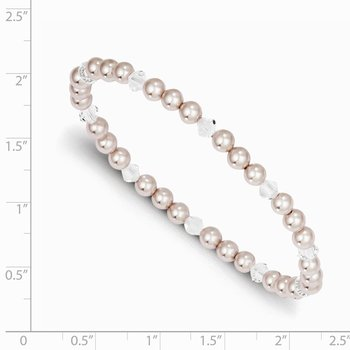 4mm pink shell pearl with crystal 45mm stretch bracelet