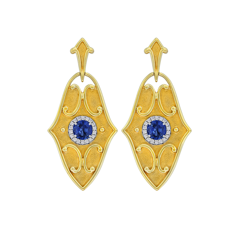 Spark Creations Etruscan Style Sapphire & Diamond Earrings