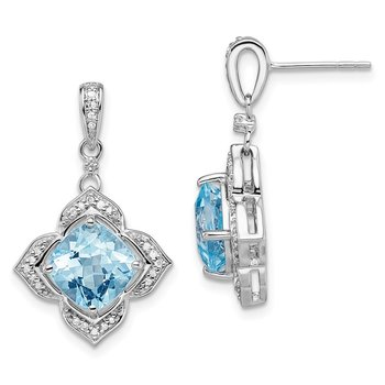 Sterling Silver Rhodium-plated Diamond & Light Swiss Blue Topaz Earrings