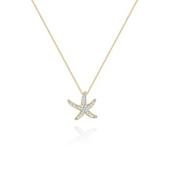 14K Diamond Starfish Necklace