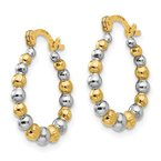 Quality Gold 14K Madi K w/Rhodium Beaded Hoop Earrings