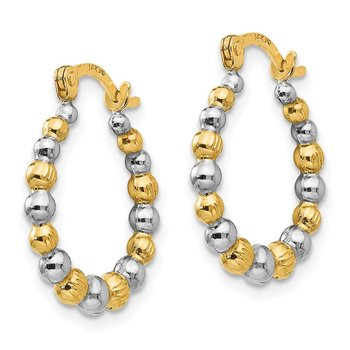14K Madi K w/Rhodium Beaded Hoop Earrings