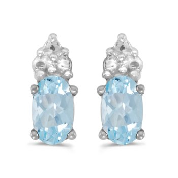 10k White Gold Oval Aquamarine Earrings
