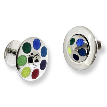 Sterling Silver Spinning Top Elbow Cufflinks-Multi