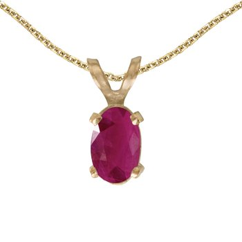 14k Yellow Gold Oval Ruby Pendant