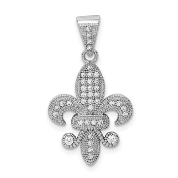 Sterling Silver Rhodium-plated Polished CZ Fleur De Lis Pendant