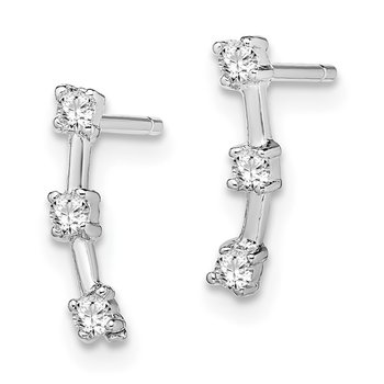 Sterling Silver Rhodium-plated 3-CZ Post Earrings
