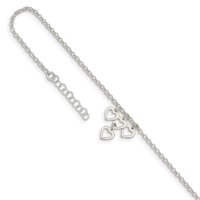 Quality Gold Sterling Silver Open Heart Dangles 9in Plus 1in ext. Anklet