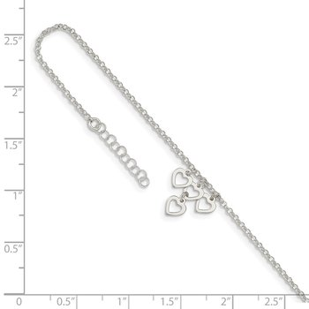 Sterling Silver Open Heart Dangles 9in Plus 1in ext. Anklet