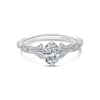 Three Leaf Diamond Engagement Ring