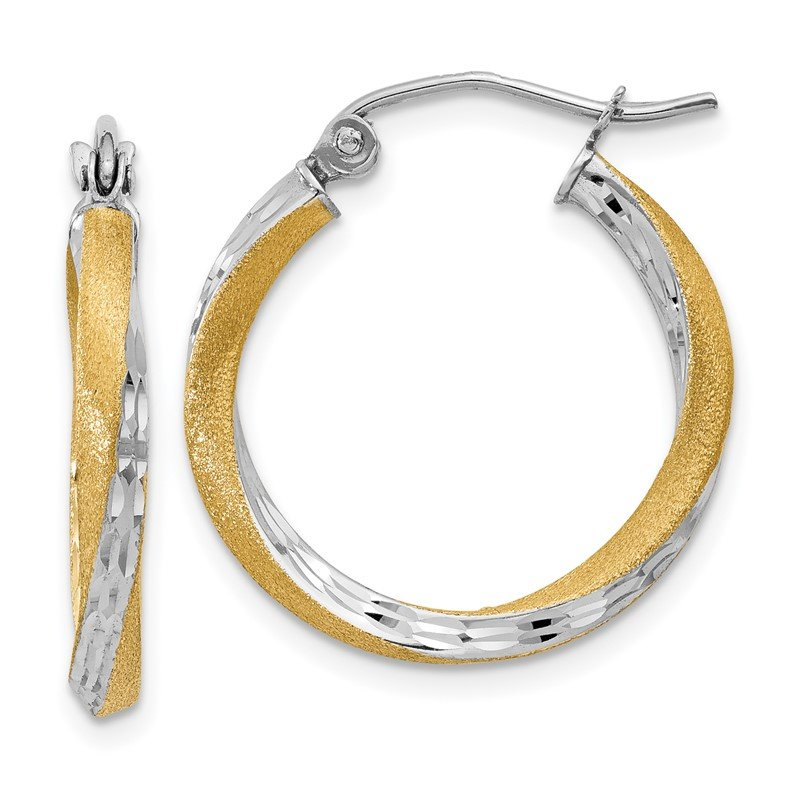 Quality Gold 14k & Rhodium Diamond-cut 2.5mm Twisted Hoop Earrings