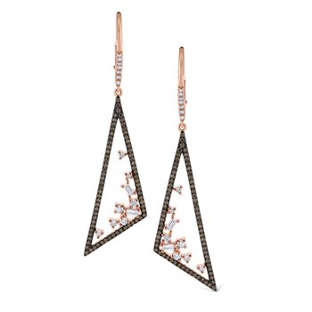 Champagne & White Diamond Triangular Mosaic Earrings Set in 14 Kt. Gold with Rhodium Finish