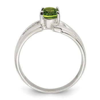 Sterling Silver Lime Green Oval CZ Ring