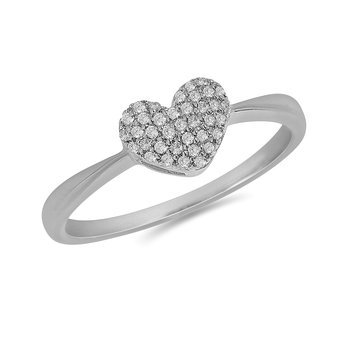 925 SS and Diamond Pave Set Heart Ring
