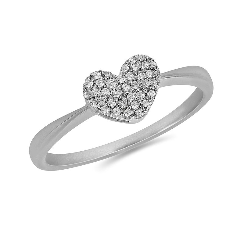 BB Impex 925 SS and Diamond Pave Set Heart Ring