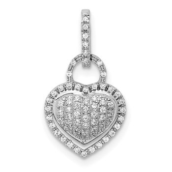 14k White Gold 1/5ct. Diamond Fancy Heart Pendant