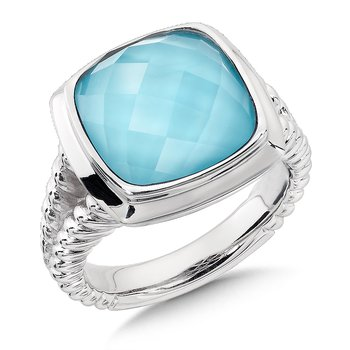 Sterling Silver Turquoise & Quartz Colore Fusion Ring