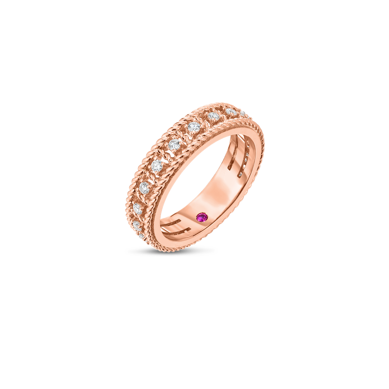 Roberto Coin  #27664 Of 18Kt Gold Single Row Ring With Diamonds
