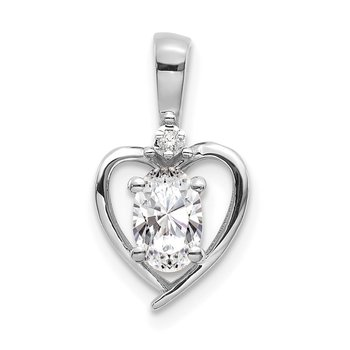 14k White Gold White Topaz and Diamond Heart Pendant