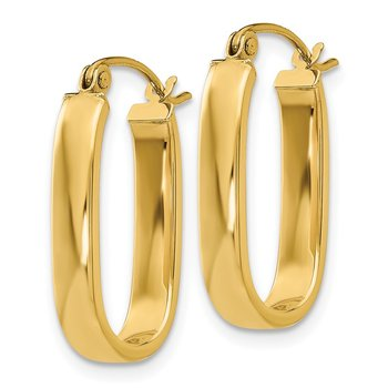 14k Polished 3.5mm Oval Hoop Earrings